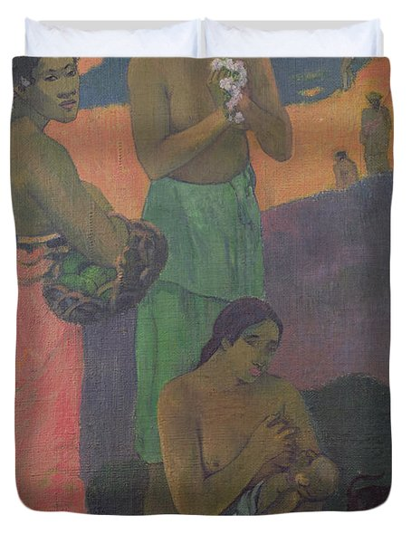 Three Women On The Seashore Duvet Cover by Paul Gauguin