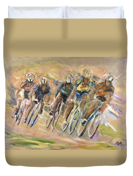 Thrill Of The Chase Duvet Cover by Jude Lobe
