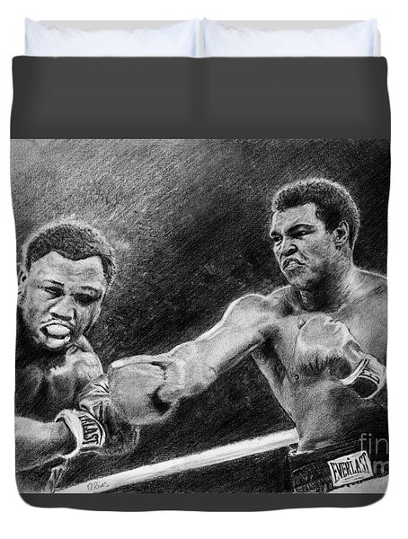 Thrilla In Manilla Pencil Drawing Duvet Cover
