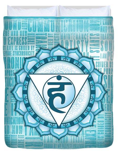 Throat Chakra - Awareness Duvet Cover by David Weingaertner