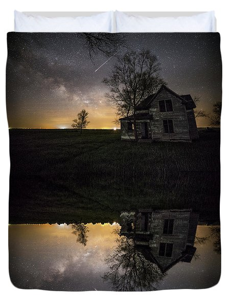 Duvet Cover featuring the photograph Through A Mirror Darkly  by Aaron J Groen