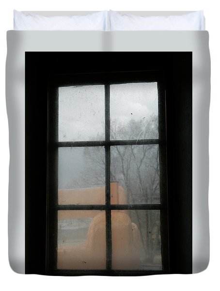 Duvet Cover featuring the photograph Through A Museum Window by Marilyn Hunt