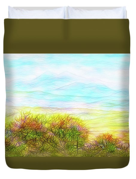 Through Mountain Mists Duvet Cover by Joel Bruce Wallach