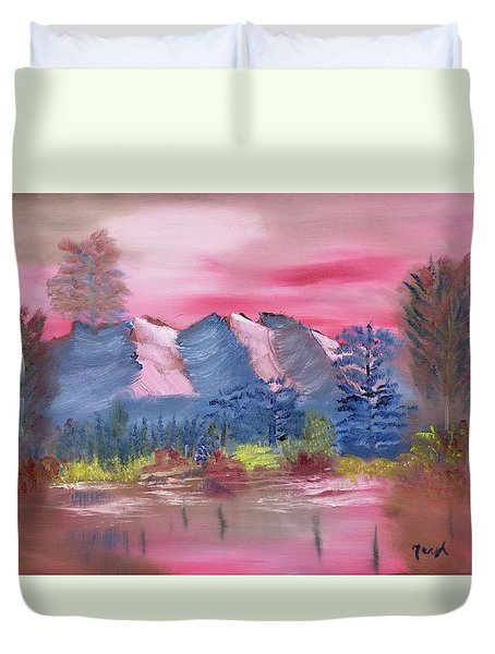 Duvet Cover featuring the painting Through Rose Colored Glasses by Meryl Goudey