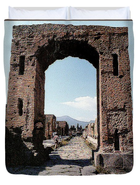Duvet Cover featuring the photograph Through The Arched City Gate Into Reclaimed Pompei, Italy by Merton Allen