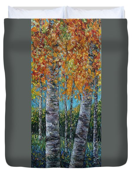 Through The Aspen Trees Diptych 1 Duvet Cover