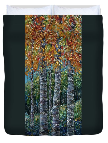 Through The Aspen Trees Diptych 2 Duvet Cover