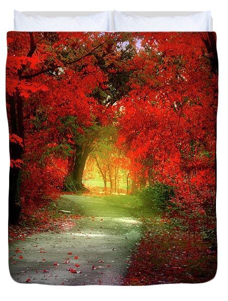 Through The Crimson Leaves To A Golden Beginning Duvet Cover