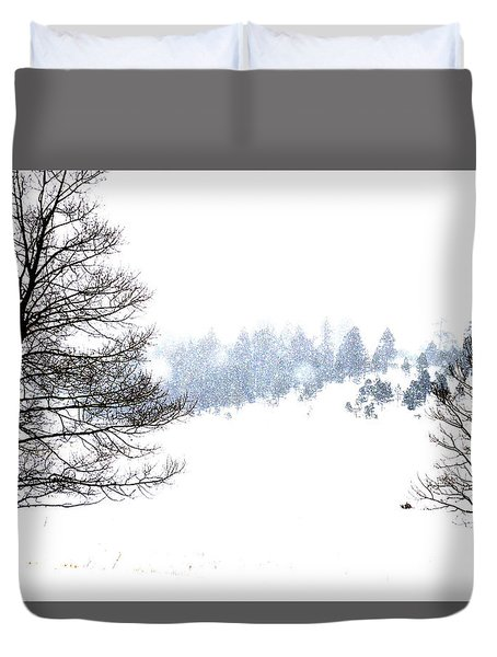 Through The Falling Snow Duvet Cover