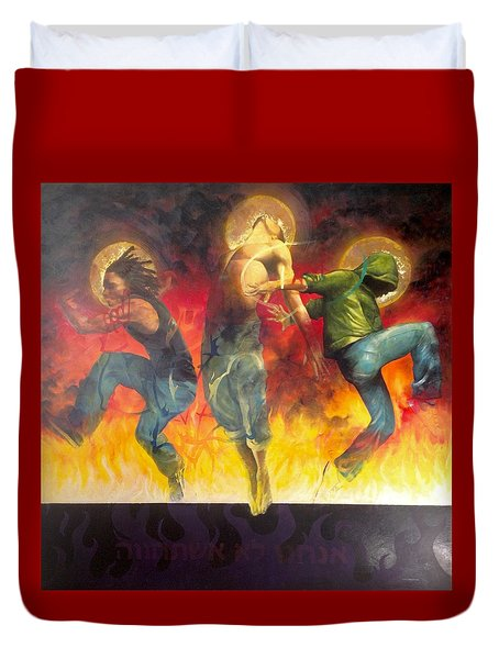 Duvet Cover featuring the painting Through The Fire by Christopher Marion Thomas
