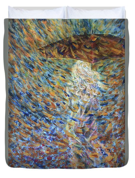 Duvet Cover featuring the painting Through The Rain by Nik Helbig