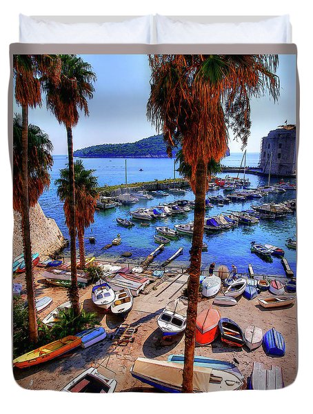Duvet Cover featuring the photograph Through The Trees Dubrovnik Harbour by Lance Sheridan-Peel