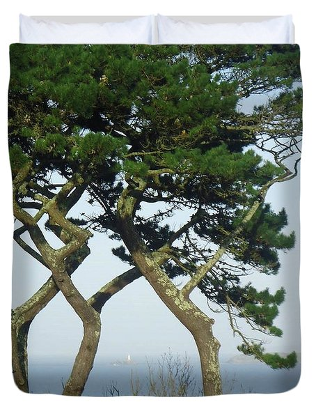 Through The Trees To Godrevy From St. Ives Duvet Cover