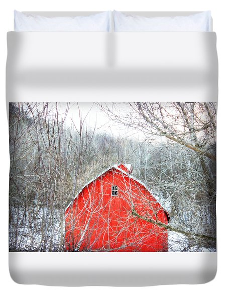 Duvet Cover featuring the photograph Through The Woods by Julie Hamilton