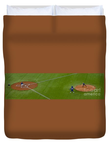 Throwing The First Pitch Duvet Cover