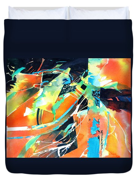 Duvet Cover featuring the painting Thrust by Rae Andrews