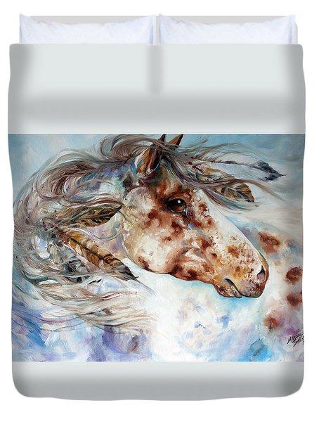 Thunder Appaloosa Indian War Horse Duvet Cover by Marcia Baldwin