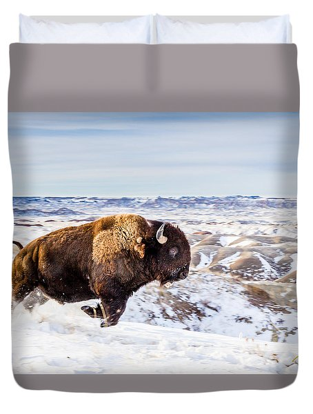 Thunder In The Snow Duvet Cover by Rikk Flohr