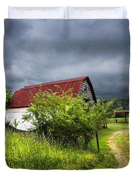 Thunder Road Duvet Cover by Debra and Dave Vanderlaan