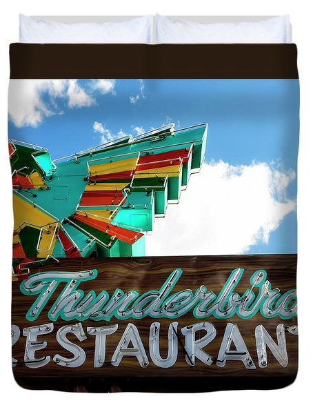 Thunderbird Restaurant Vintage Neon Sign Duvet Cover