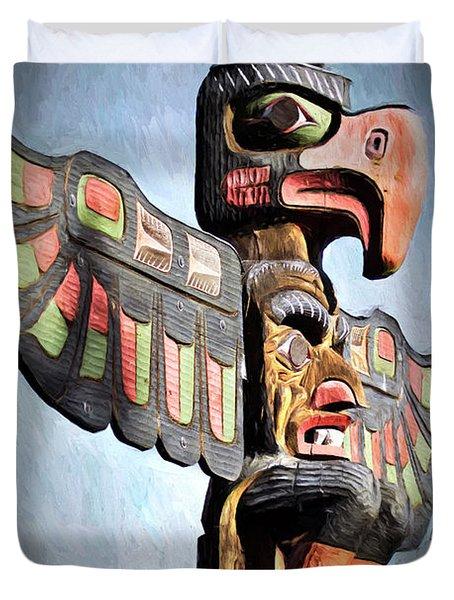 Thunderbird Totem Pole - Thunderbird Park, Victoria, British Columbia Duvet Cover