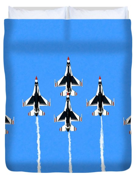 Duvet Cover featuring the mixed media Thunderbirds Flying In Formation by Mark Tisdale