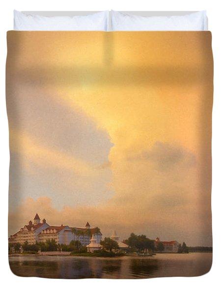 Thunderstorm Over Disney Grand Floridian Resort Duvet Cover