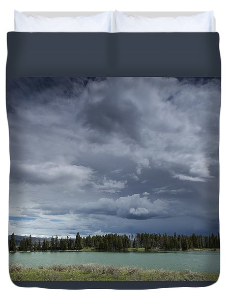 Thunderstorm Over Indian Pond Duvet Cover