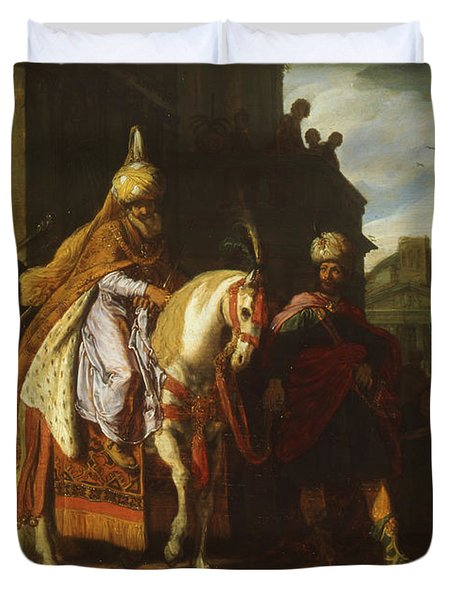thwarted a conspiracy against King Ahasuerus Duvet Cover