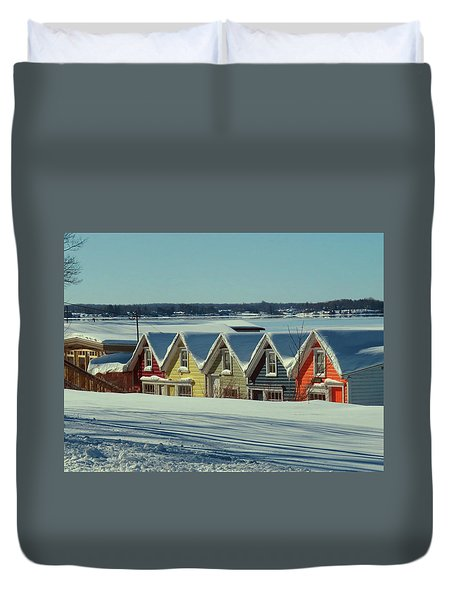 Winter View Ti Park Boathouses Duvet Cover