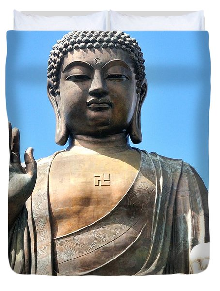 Tian Tan Buddha Duvet Cover by Joe  Ng