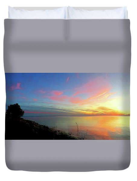 Sunset At Tibbetts Point Light, 2015 Duvet Cover