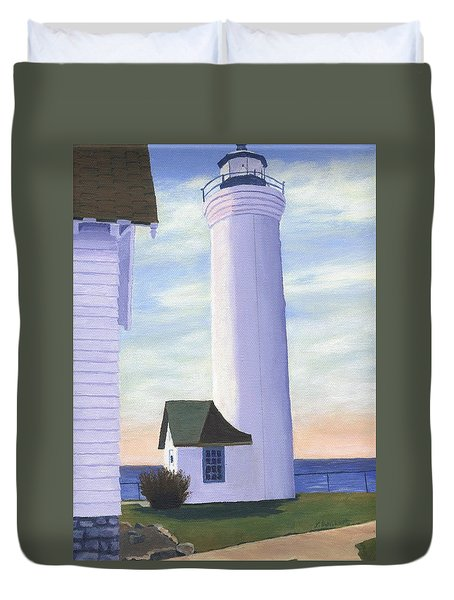 Duvet Cover featuring the painting Tibbett's Point by Lynne Reichhart