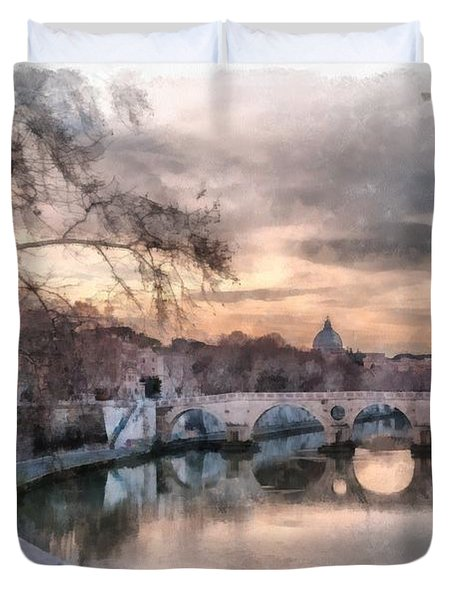 Duvet Cover featuring the photograph Tiber - Aquarelle by Sergey Simanovsky
