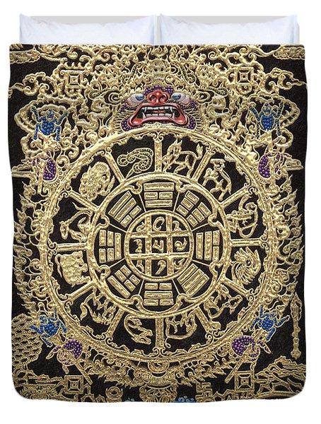 Tibetan Astrological Diagram Duvet Cover