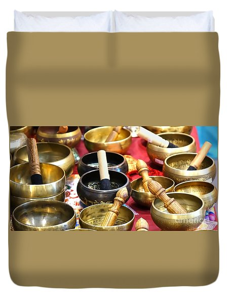 Tibetan Bronze Singing Bowls Duvet Cover