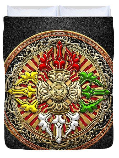 Tibetan Double Dorje Mandala Duvet Cover