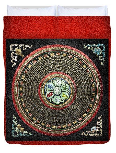 Tibetan Om Mantra Mandala In Gold On Black And Red Duvet Cover