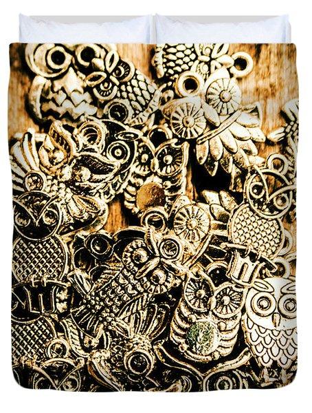 Tibetan Owl Charms Duvet Cover