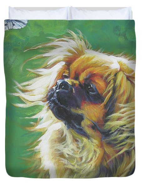 Tibetan Spaniel And Cabbage White Butterfly Duvet Cover by Lee Ann Shepard