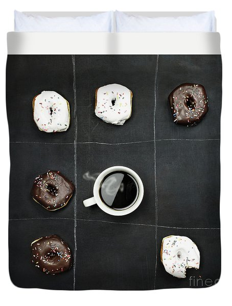 Duvet Cover featuring the photograph Tic Tac Toe Donuts And Coffee by Stephanie Frey