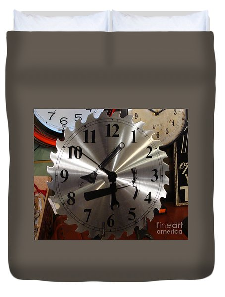Duvet Cover featuring the painting Tick Tock Tick Tock by Rod Jellison