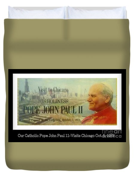 Duvet Cover featuring the photograph Ticket To Pope John Paul In Chicago 1979 by Sherri  Of Palm Springs