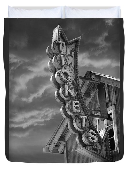 Duvet Cover featuring the photograph Tickets Bw by Laura Fasulo