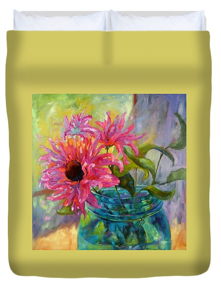 Duvet Cover featuring the painting Tickled Pink by Chris Brandley