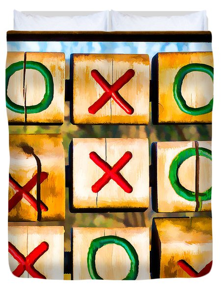 Tictactoe Game Xoxo Duvet Cover by Eleanor Abramson