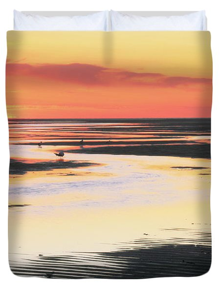 Tidal Flats At Sunset Duvet Cover