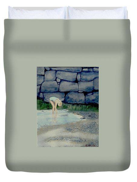 Duvet Cover featuring the painting Tidal Pool Treasures by Anthony Ross