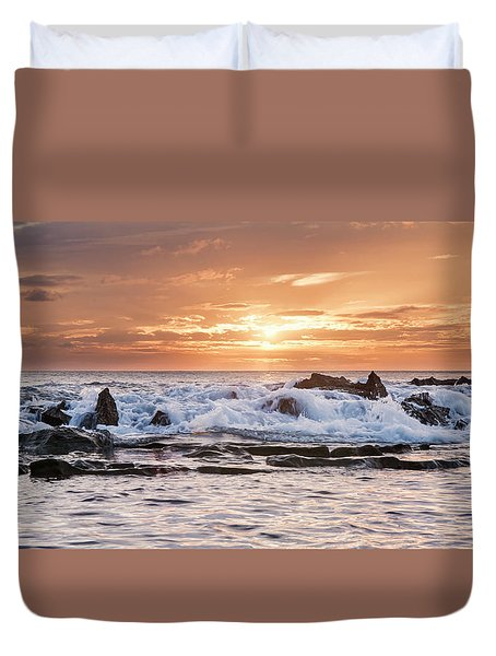 Duvet Cover featuring the photograph Tidal Sunset by Heather Applegate
