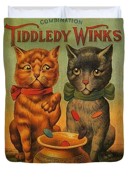 Tiddledy Winks Funny Victorian Cats Duvet Cover